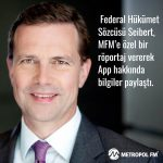 Federal Hükümet Sözcüsü Steffen Seibert, MFM'e özel bir röportaj vererek ,Corona Warn App´ hakkında bilgiler paylaştı.